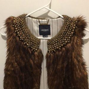Gryphon Beaded Brown Faux Fur Vest